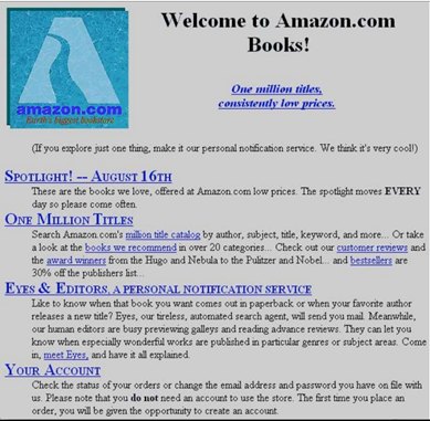 Amazon first web page