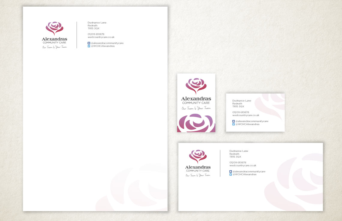 Alexandras & Westcountry Home Care stationery