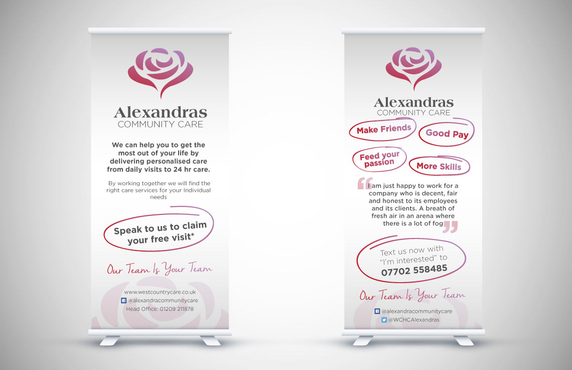 Alexandras Community Care roll up banner