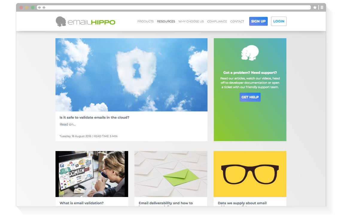 Email hippo resources page