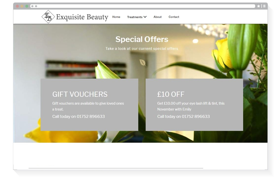 Exquisite Beauty special offers page