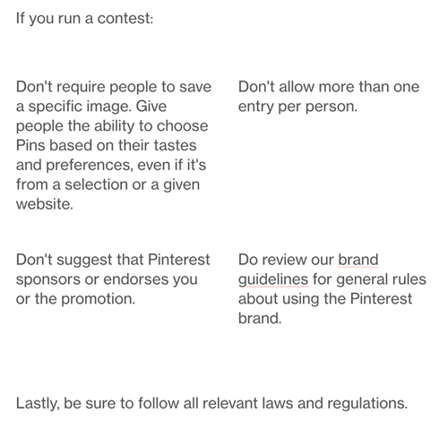 Pinterest Competition Rules