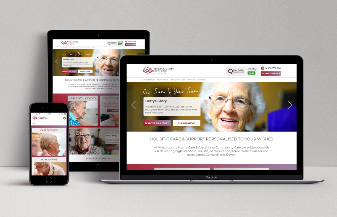 Westcountry Home Care website home page
